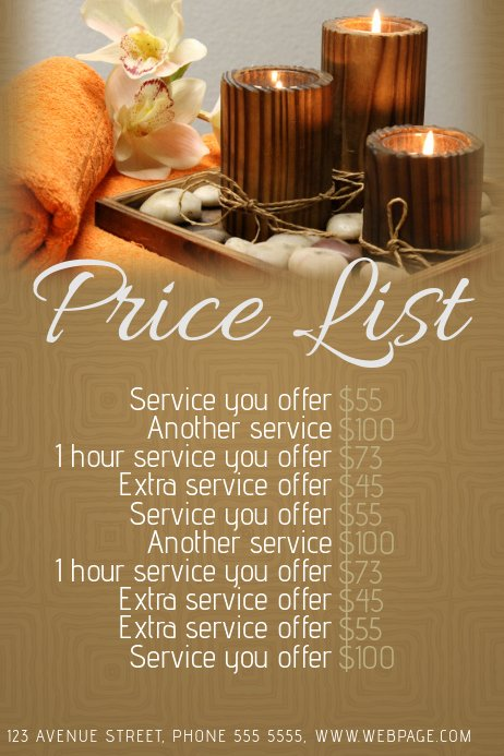 Price List Design Template Best Of Spa or Beauty Salon Price List Template