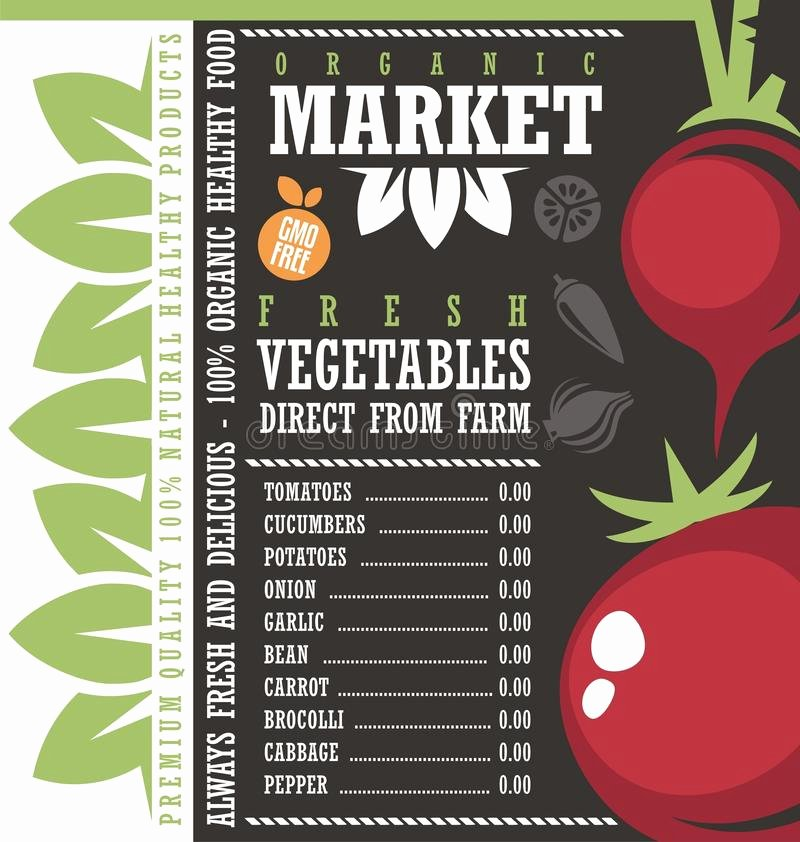 Price List Design Template Lovely Farm Fresh Ve Ables Market Price List Template Stock