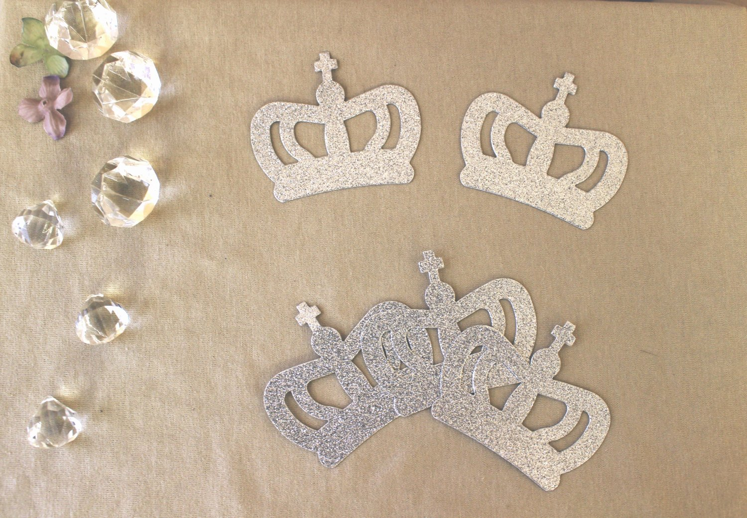 Prince Crown Cut Out Elegant Crown Glitter Cut Out Princess Prince Silver or Gold