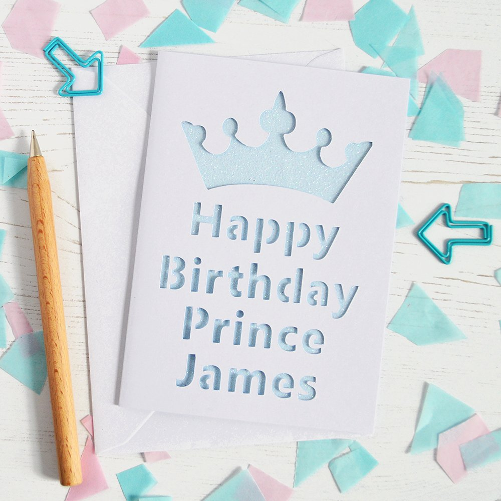 Prince Crown Cut Out Luxury Personalised Prince S Crown Glitter Cut Out Card Altered