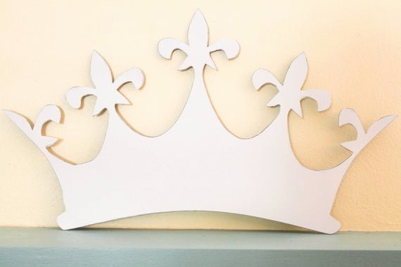 Princess Crown Cut Out Inspirational Metal Distressed White Queen Princess Crown by