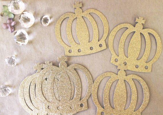 Princess Crown Cut Out Unique Crown Glitter Cut Out Prince Princess Silver or Gold