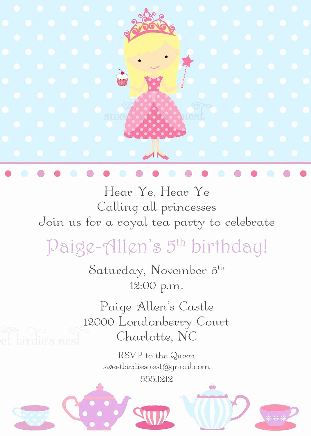 Princess Party Invitation Wording Awesome Items Similar to Princess Tea Party Invitation On Etsy