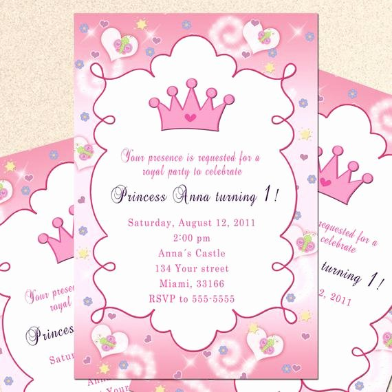 Princess Party Invitation Wording Awesome Royal Princess Birthday Invitation Girl Princess by Pinkthecat