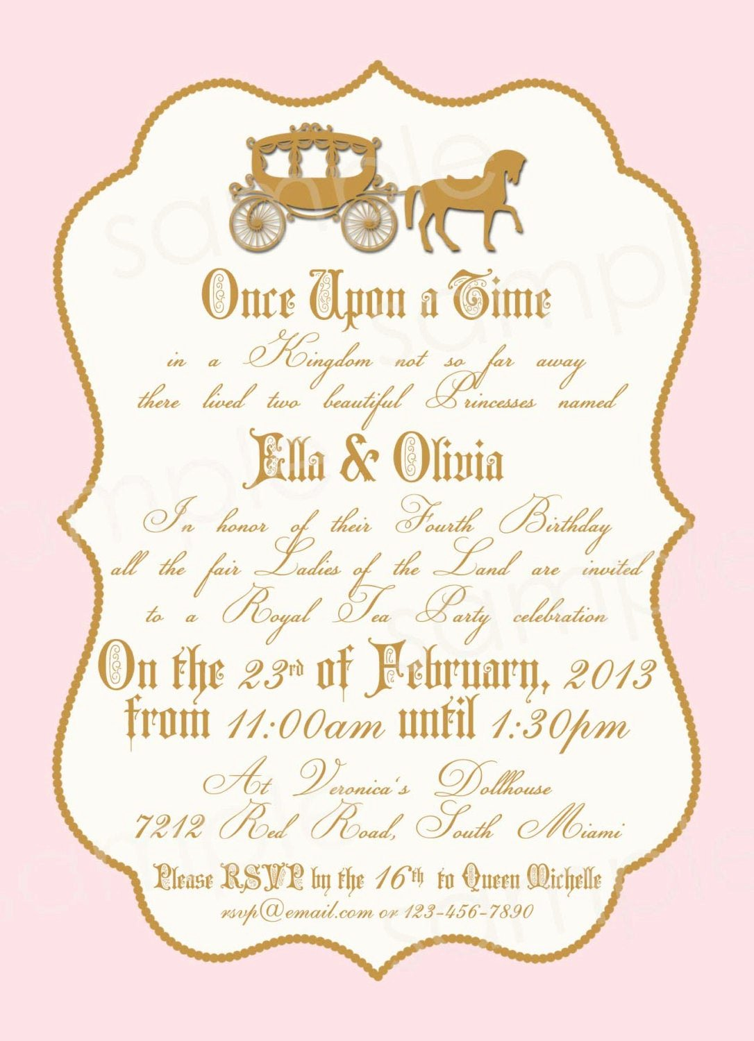 Princess Party Invitation Wording Awesome Royal Princess Birthday Party Invitation Diy by Modpoddesigns