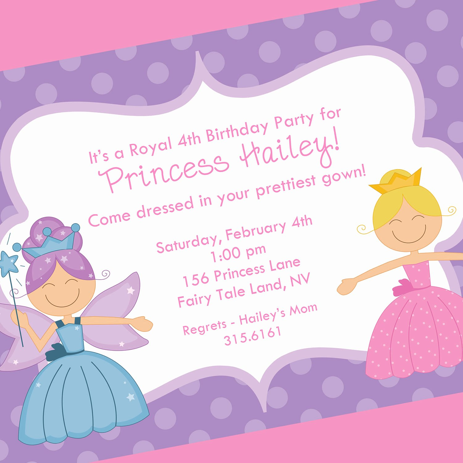 Princess Party Invitation Wording Beautiful Princess Birthday Invitation Printable Invitation Design