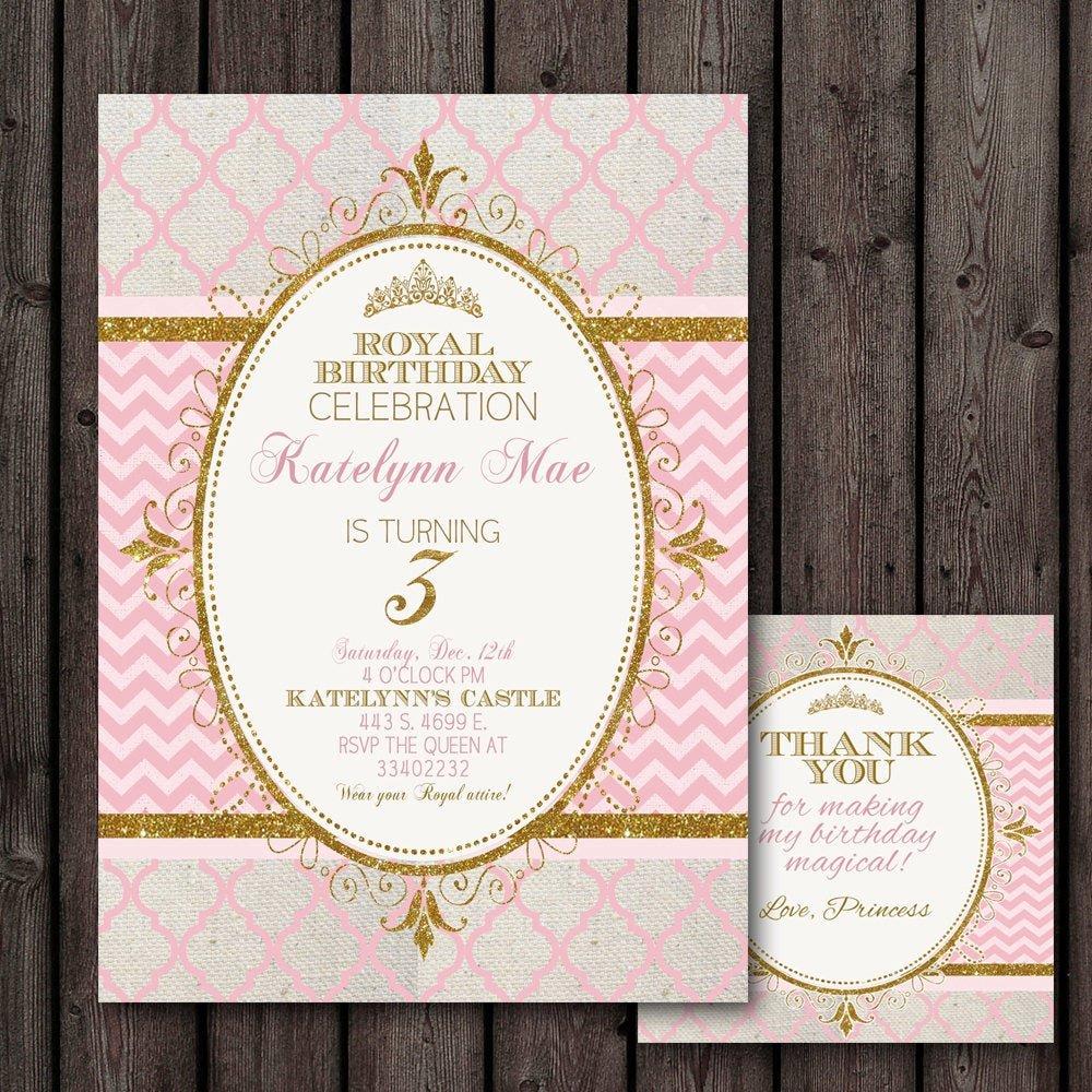 Princess Party Invitation Wording Beautiful Princess Invitation Pink Gold Customized Wording Free