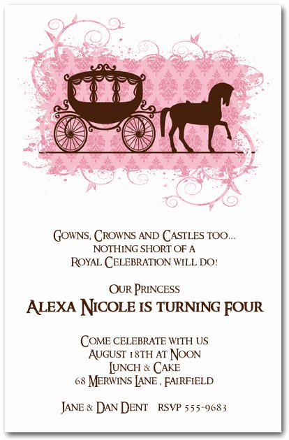 Princess Party Invitation Wording Best Of Horse Carriage for A Princess Birthday Invitations