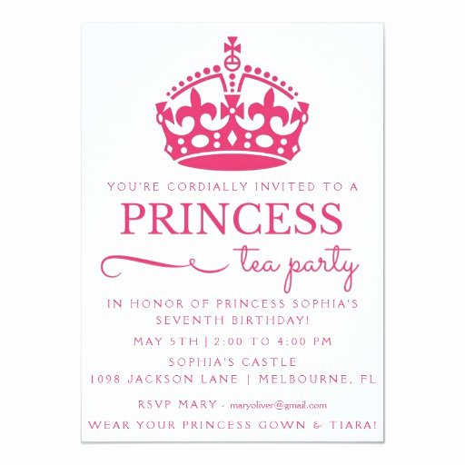 Princess Party Invitation Wording Elegant Pink Princess Tea Party Birthday Invitations