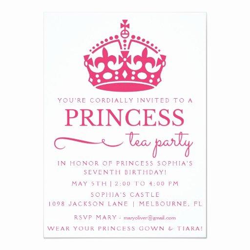 Princess Party Invitation Wording Elegant Pink Princess Tea Party Birthday Invitations