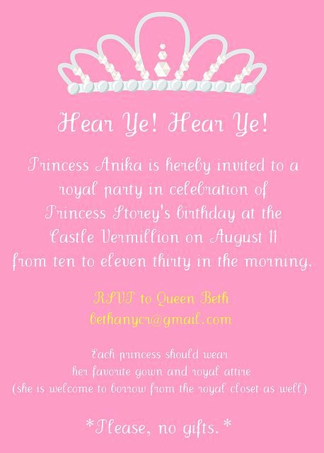 Princess Party Invitation Wording Elegant Princess Party Invitation Wording 4 Years Old