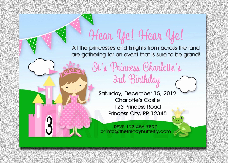 Princess Party Invitation Wording Fresh Princess Birthday Invitation Princess Birthday Party