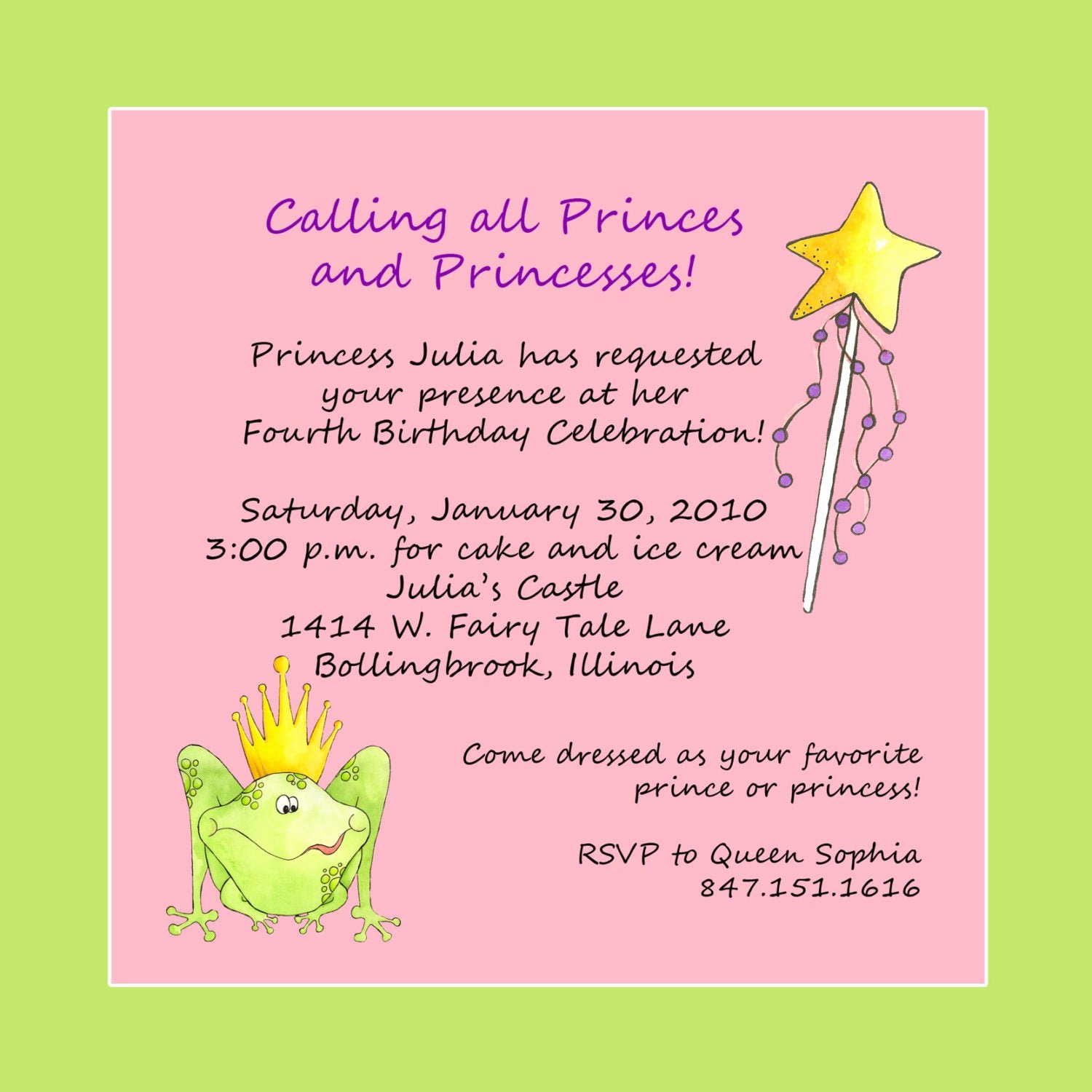 Princess Party Invitation Wording Lovely Princess theme Birthday Party Invitation Custom Wording