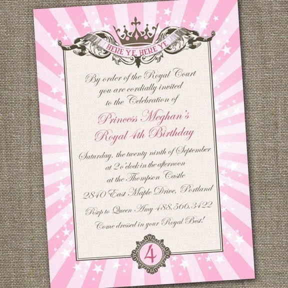 Princess Party Invitation Wording Lovely Royal Princess Tiara Printable Birthday Invitation