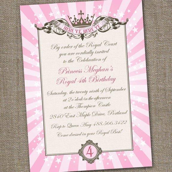 Princess Party Invitation Wording Lovely Royal Princess Tiara Printable Birthday Invitation