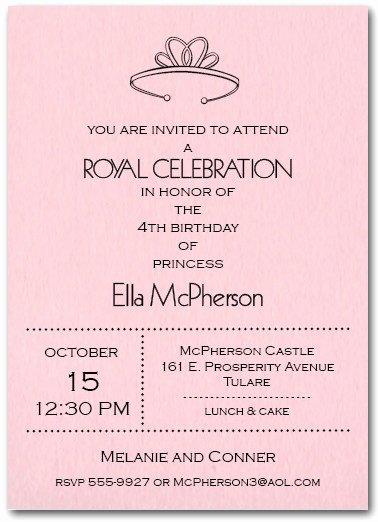 Princess Party Invitation Wording Luxury Princess Tiara On Pink Birthday Party Invitations