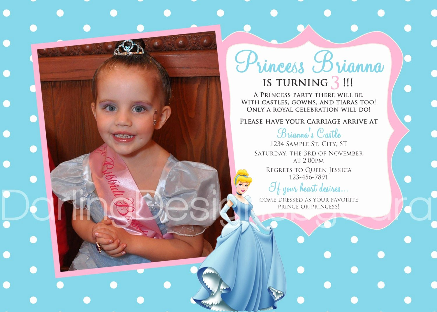 Princess Party Invitation Wording New Disney Princess Cinderella Birthday Invitation by