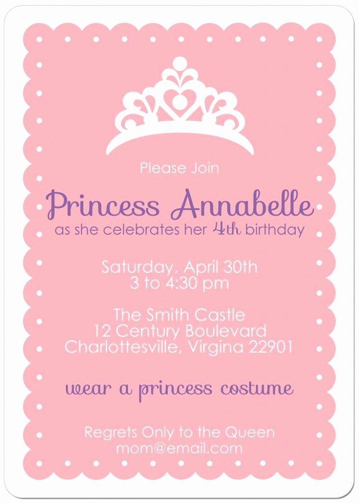 Princess Party Invitation Wording New Free Printable Princess Tea Party Invitations Templates 2
