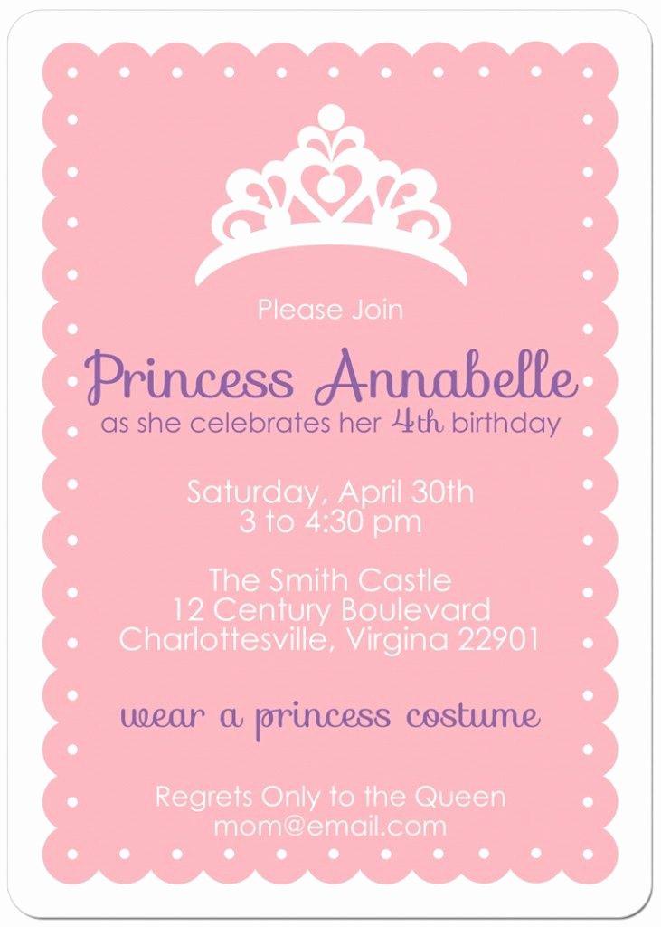 Princess Party Invitation Wording New Free Printable Princess Tea Party Invitations Templates 2