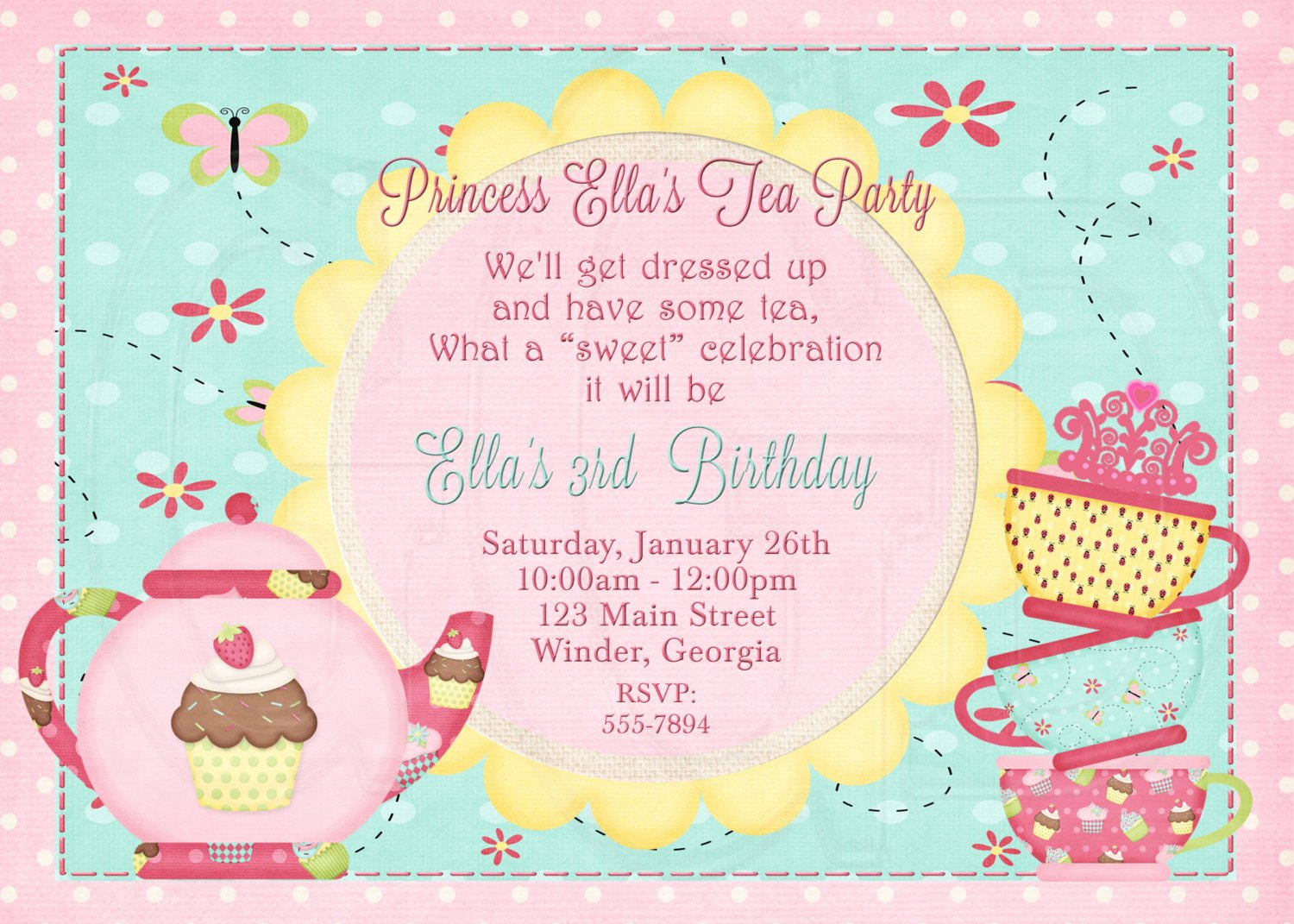 Princess Party Invitation Wording New Tea Party Invitation Birthday Dress Up Party Digital File