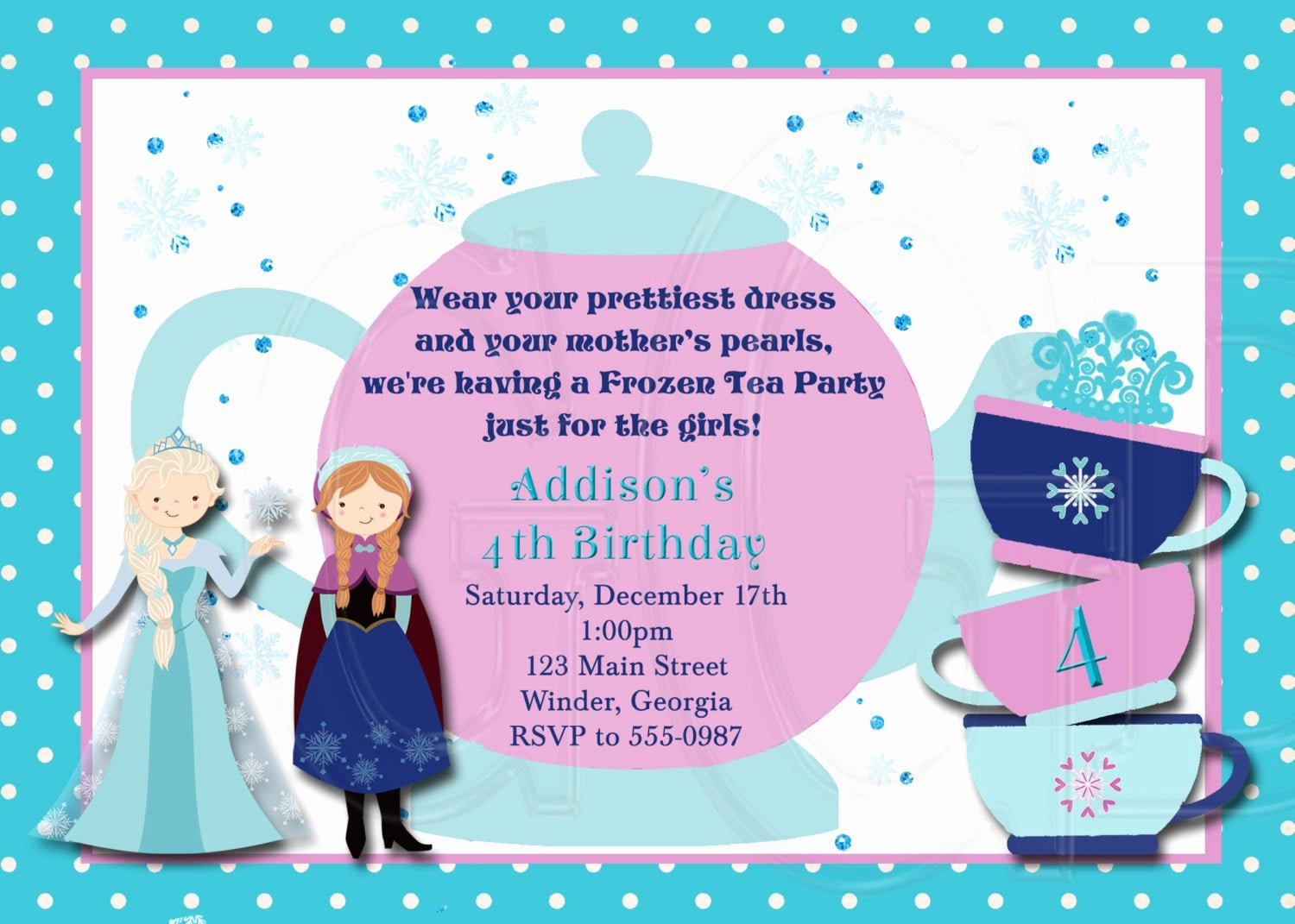 Princess Party Invitation Wording Unique Ice Princess Tea Party Invitation Birthday Digital File