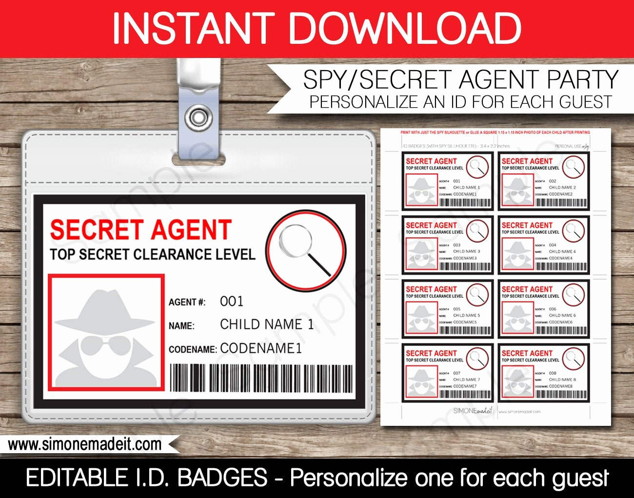 secret agent badge spy birthday party