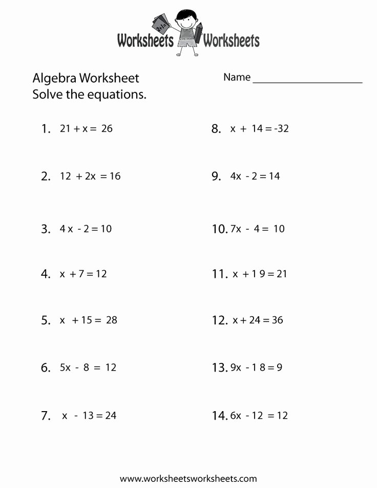 Print Out Algebra Worksheets Awesome Simple Algebra Worksheet Printable School