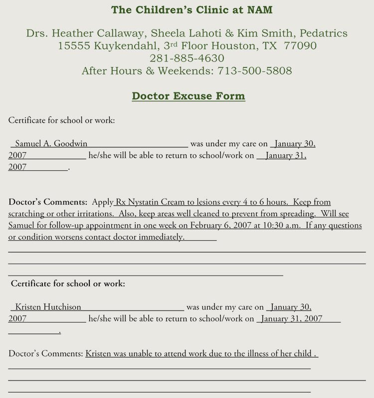 Print Out Fake Doctors Note Lovely Fake Doctors Note Templates & Excuses
