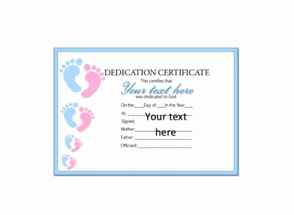 Printable Baby Dedication Certificate Awesome 50 Free Baby Dedication Certificate Templates Printable