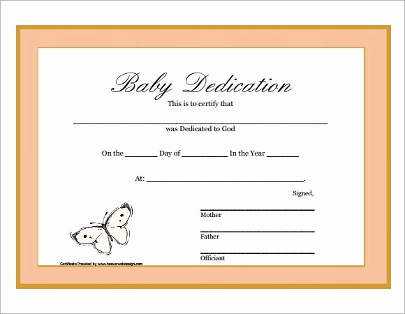 Printable Baby Dedication Certificate Awesome Baby Dedication Certificate 7 Download Free Documents
