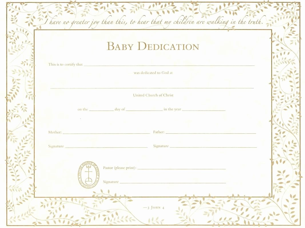 Printable Baby Dedication Certificate Awesome Baby Dedication Certificate