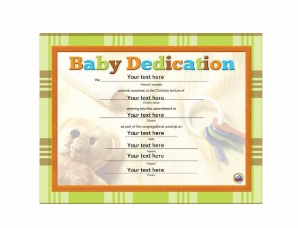 Printable Baby Dedication Certificate Fresh 50 Free Baby Dedication Certificate Templates Printable
