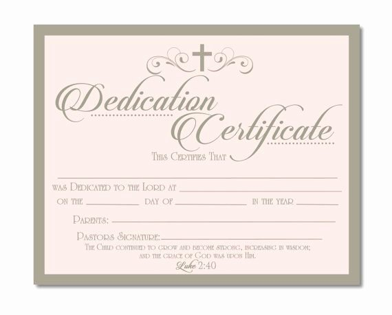 Printable Baby Dedication Certificate Lovely Printable Baby Dedication Certificate Digital by