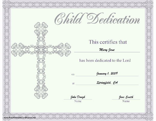Printable Baby Dedication Certificate Lovely This Beautiful Religious Certificate Of Child or Baby