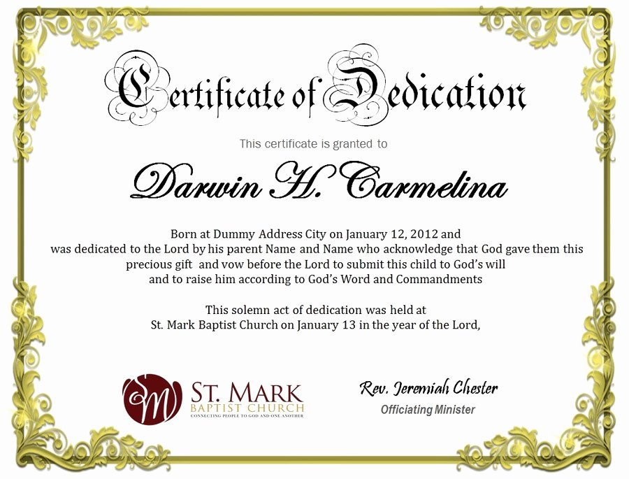 Printable Baby Dedication Certificate Luxury Baby Dedication Certificate