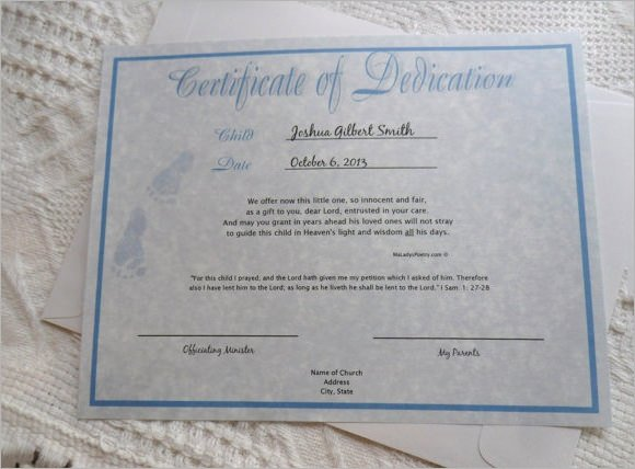 Printable Baby Dedication Certificate New 10 Sample Printable Baby Dedication Certificate Templates