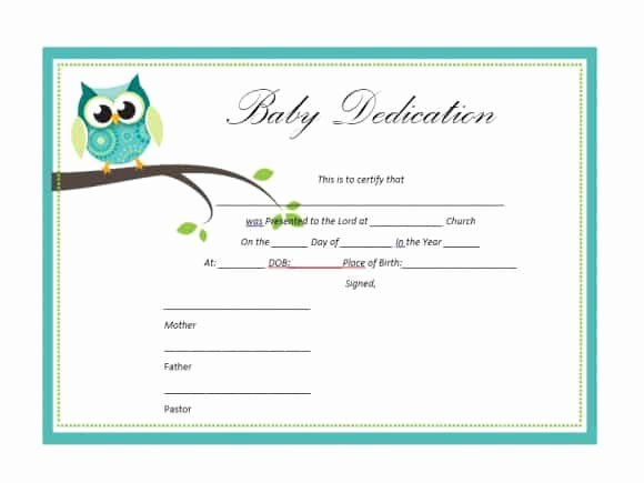 Printable Baby Dedication Certificate Unique 50 Free Baby Dedication Certificate Templates Printable