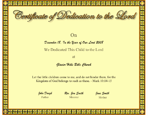 Printable Baby Dedication Certificate Unique This Christian Certificate Of A Baby or Child Dedication