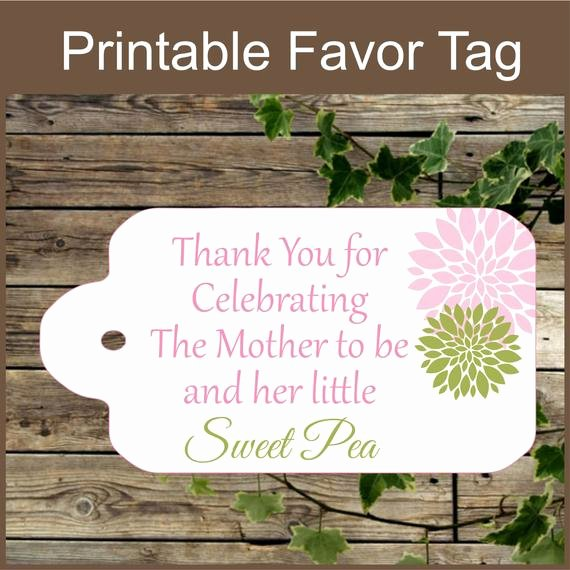 Printable Baby Shower Favor Tags Awesome Pink and Green Baby Shower Printable Favor Tag Sweet Pea