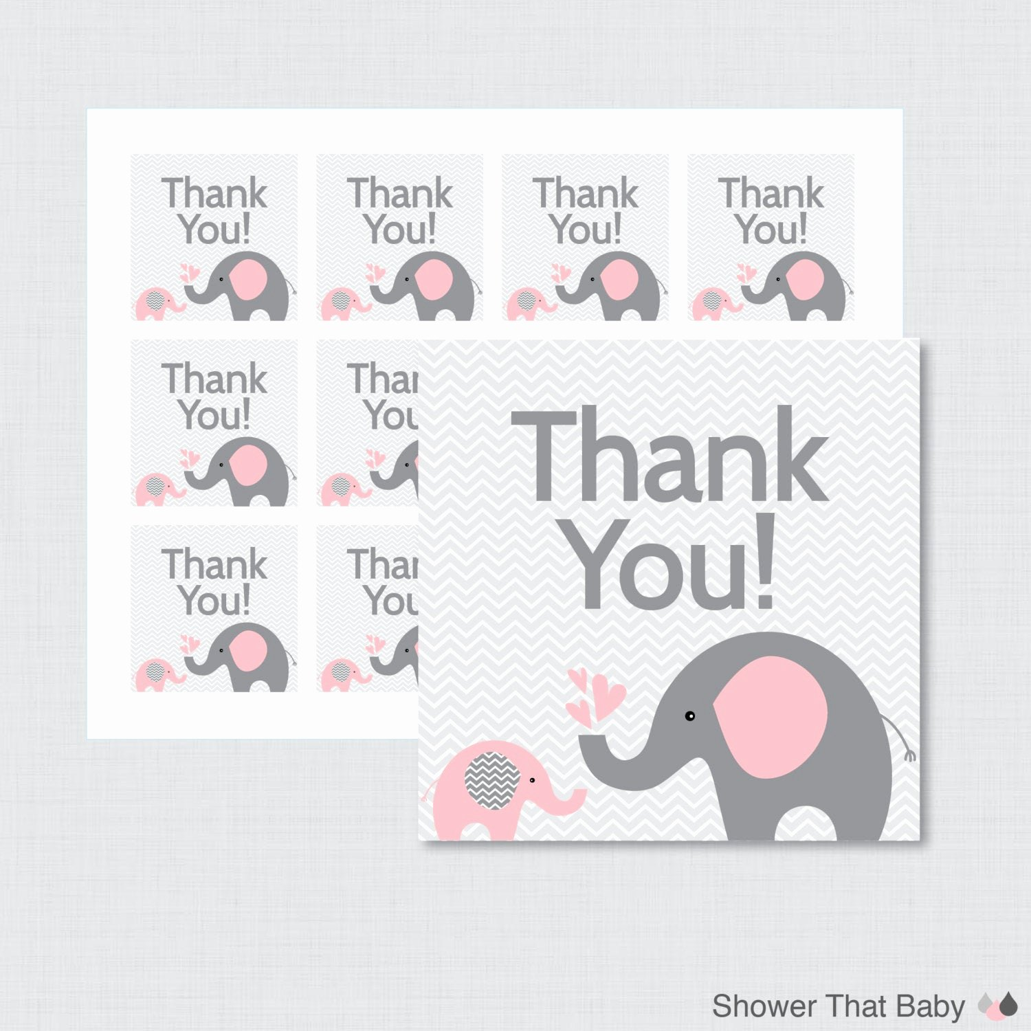 Printable Baby Shower Favor Tags Beautiful Printable Elephant Baby Shower Favor Tags Thank You Tag