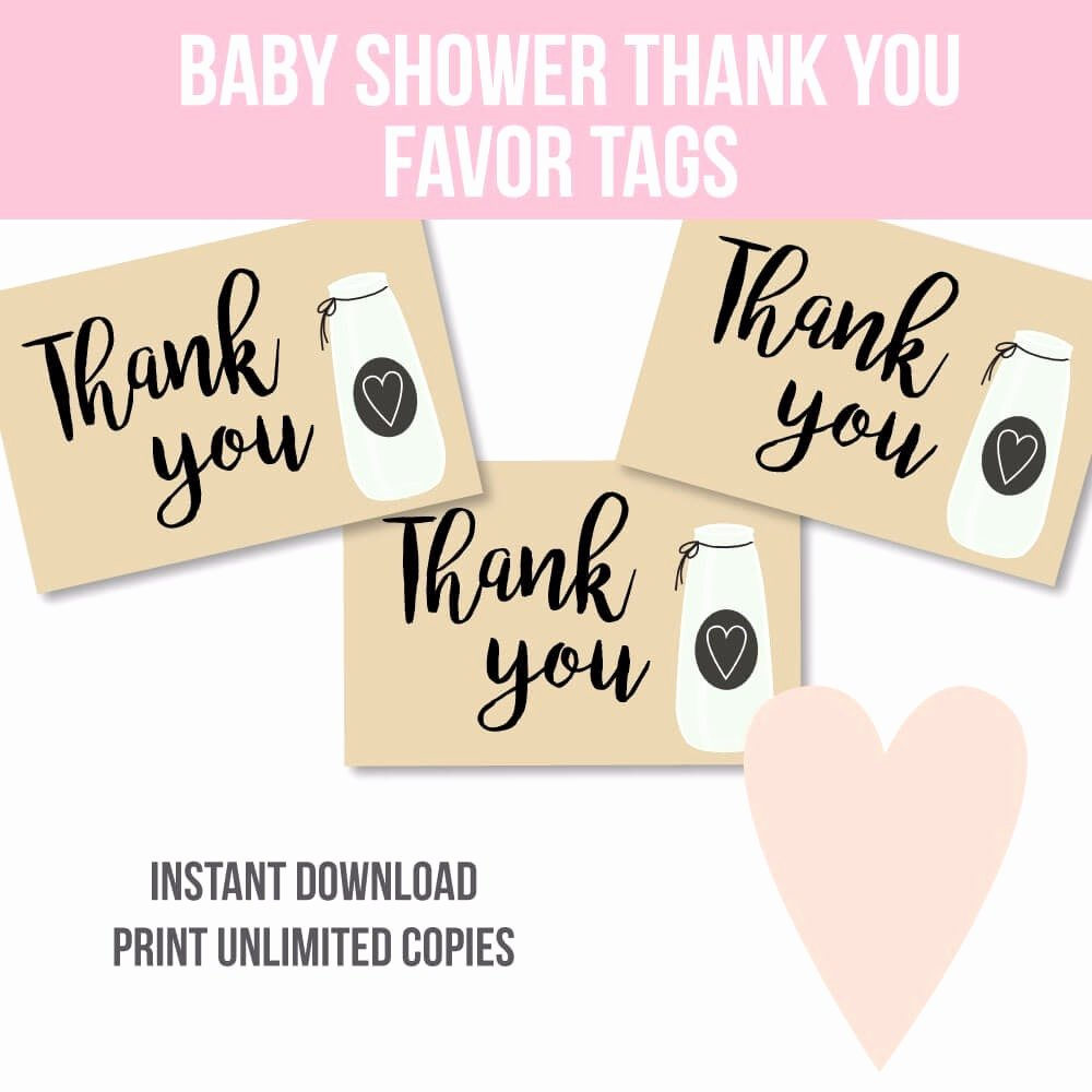 Printable Baby Shower Favor Tags Fresh Free Printable Milk Jar Baby Shower Thank You Favor Tags