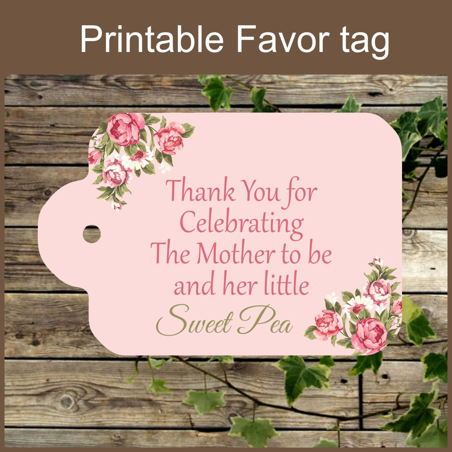 Printable Baby Shower Favor Tags New Pink Floral Baby Shower Printable Favor Tag Sweet Pea Baby