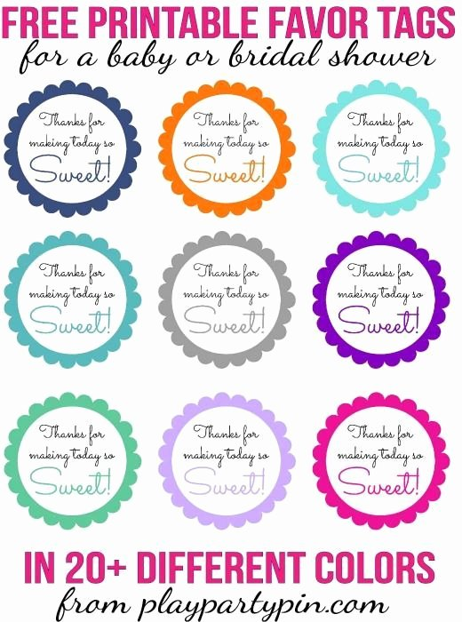 "Printable Baby Shower Gift Tags Elegant Love This Cute ""thanks for Making today Sweet"" Favor Idea"