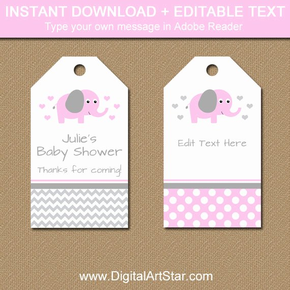 Printable Baby Shower Tags Beautiful Pink Elephant Baby Shower Tags Editable Baby Shower Hang
