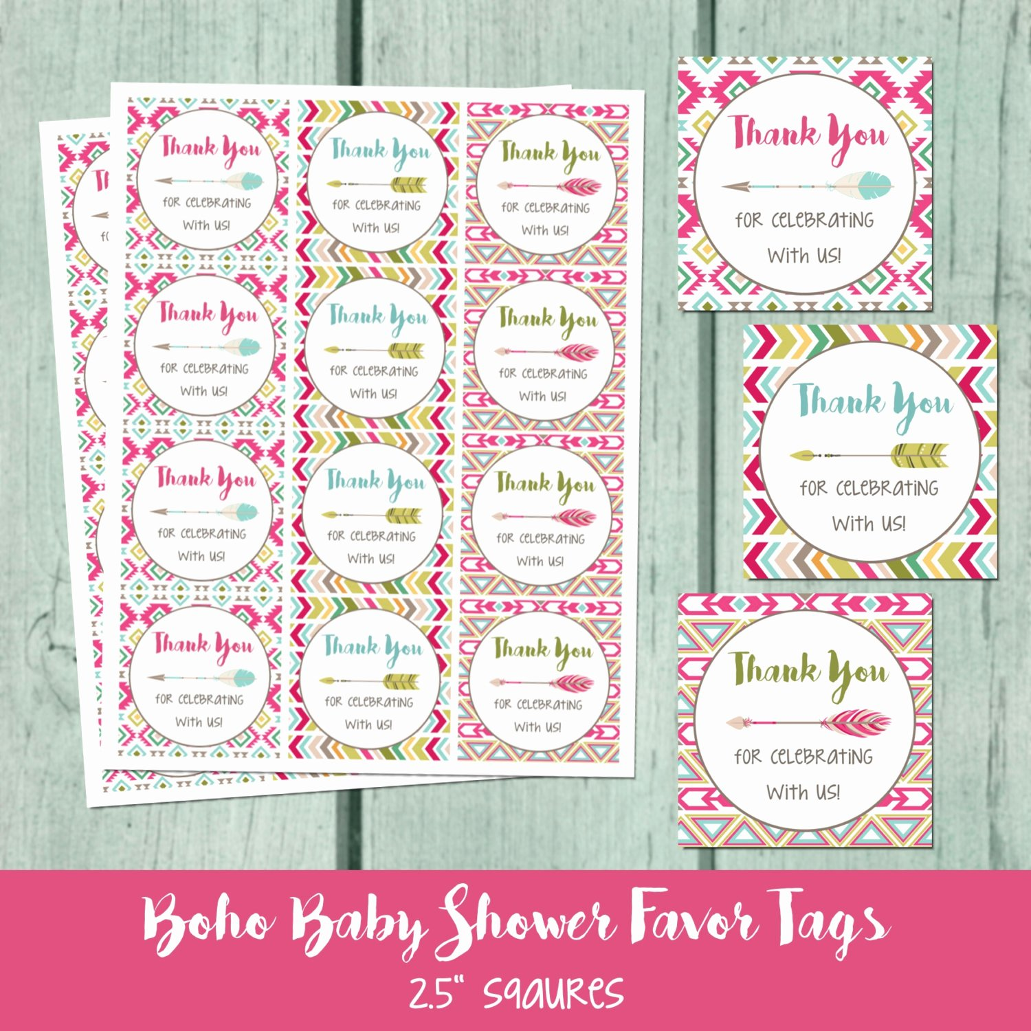 Printable Baby Shower Tags Inspirational Boho Baby Shower Printable Favor Tag Bohemian Arrow Baby