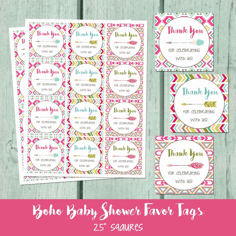 Printable Baby Shower Tags Inspirational Boho Baby Shower Printable Favor Tag Bohemian Arrow Baby
