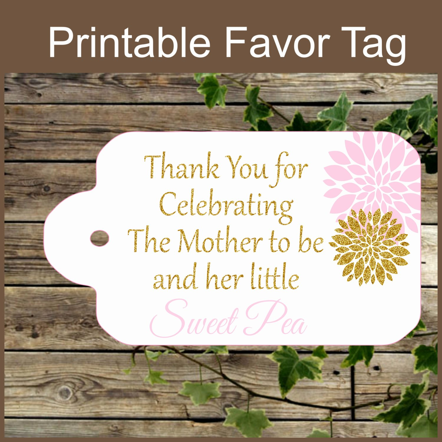 Printable Baby Shower Tags Luxury Pink and Gold Baby Shower Printable Favor Tag Sweet Pea Baby