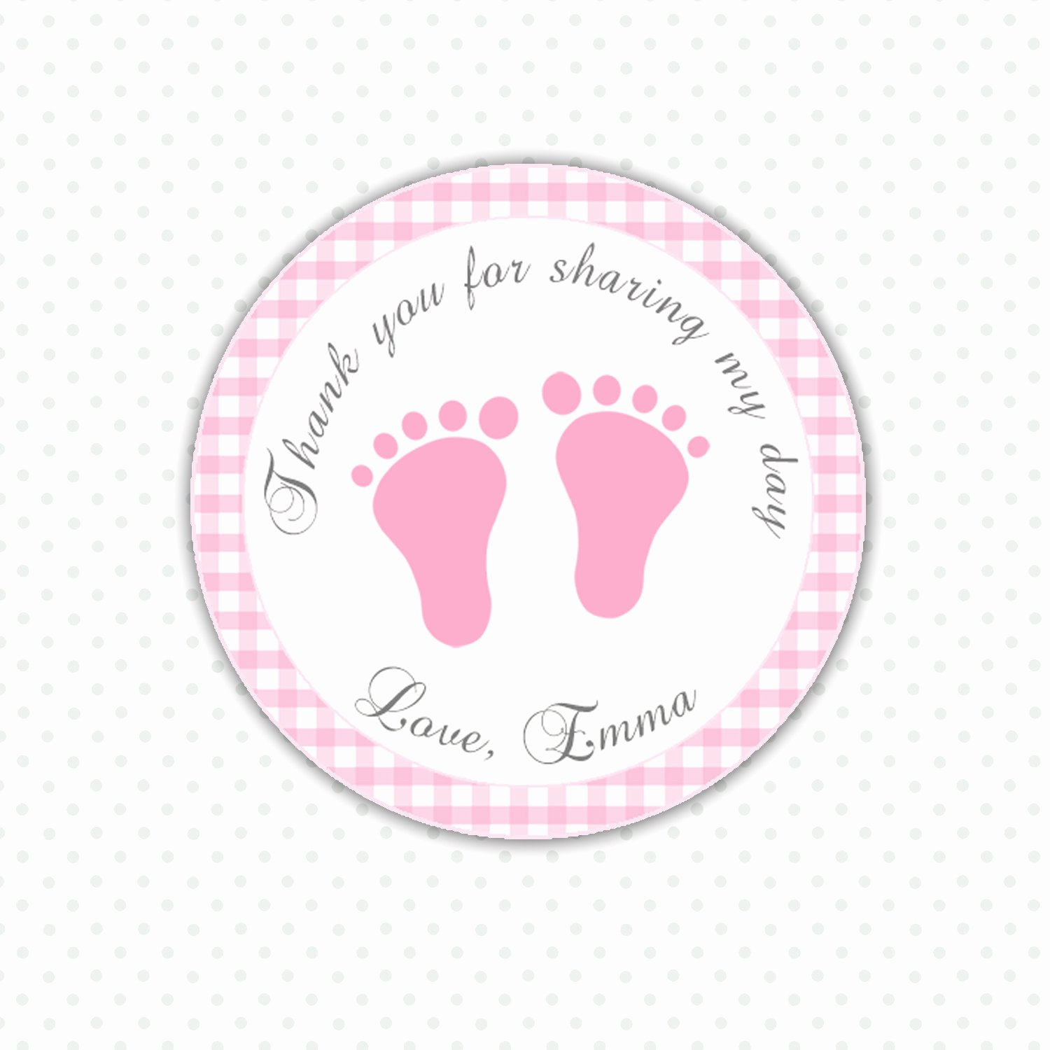Printable Baby Shower Tags New Pink Gingham Thank You Tags Baby Feet Custom Baby Shower