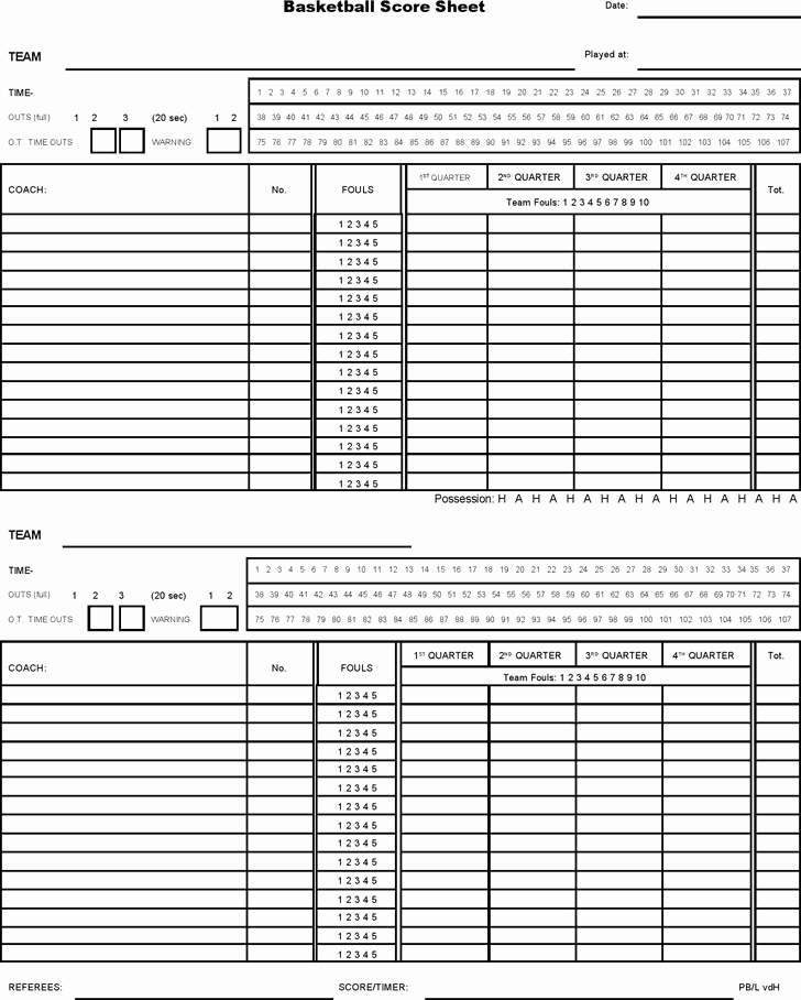 Printable Basketball Score Sheet Best Of 5 Basketball Score Sheet Templates Word Excel Templates