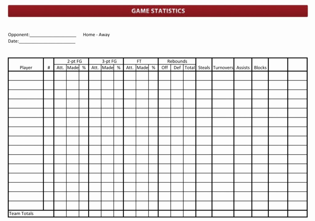 Printable Basketball Score Sheet Elegant Basketball Stat Sheet 2019